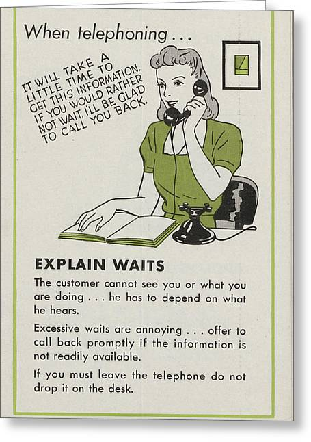 Corporate Drawings Greeting Cards - Phone Etiquette Employee Manual Page 15 Greeting Card by Chicago and North Western Historical Society