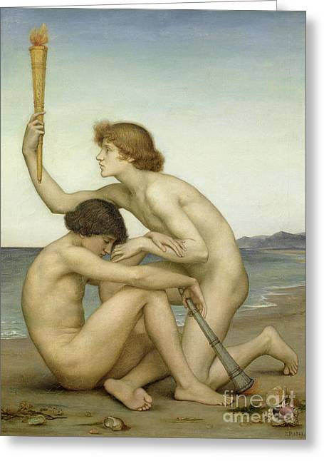 Knelt Paintings Greeting Cards - Phosphorus and Hesperus Greeting Card by Evelyn De Morgan