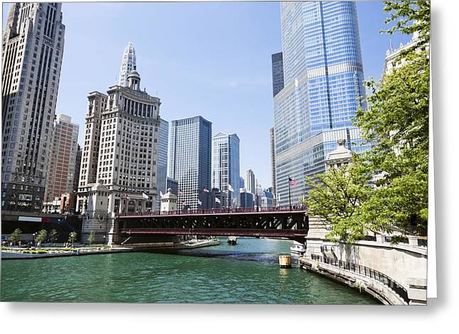 Photo Of Chicago Skyline At Michigan Avenue Bridge Greeting Card by Paul Velgos