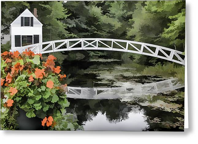 Photo 'sketch' Of Somesville Bridge Greeting Card by Ray Summers Photography