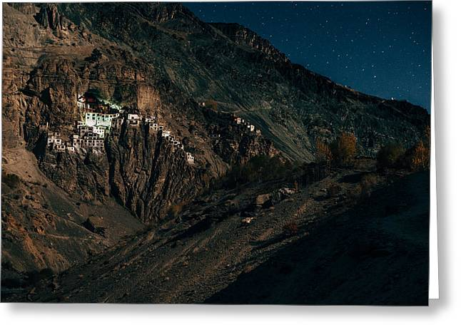 Surreal Landscape Greeting Cards - Phuktal Monastery under the moonlight. Indian Himalayas of Zanskar. Greeting Card by Quynh Anh Nguyen