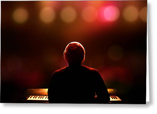 Play Photographs Greeting Cards - Pianist on stage from behind Greeting Card by Johan Swanepoel