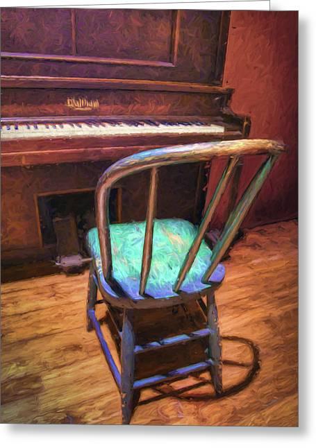 Piano And Chair - Vintage Greeting Card by Nikolyn McDonald