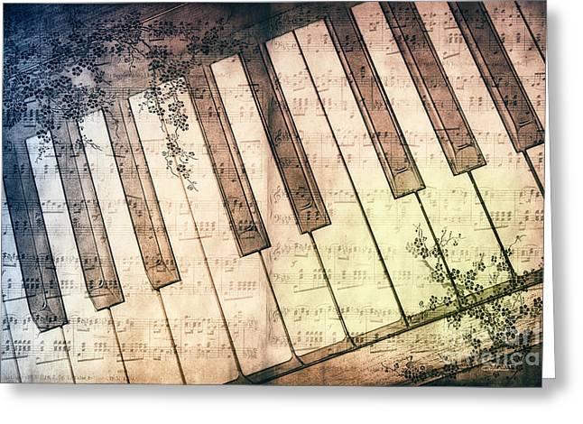 Piano Days Greeting Card by Jutta Maria Pusl