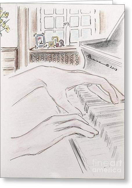 Scores Drawings Greeting Cards - Piano Hands Greeting Card by Barbara Chase