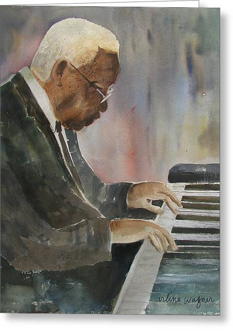Jazz Pianist Greeting Cards - Piano Jazz Greeting Card by Arline Wagner