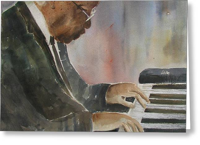 Piano Jazz Greeting Card by Arline Wagner