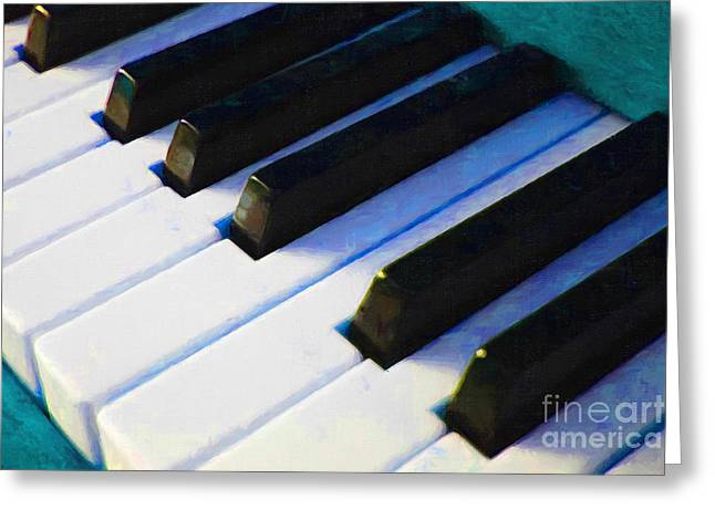 Wood Instruments Greeting Cards - Piano Keys . v2 . Blue Greeting Card by Wingsdomain Art and Photography