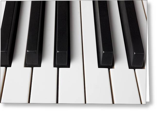 Keyboard Photographs Greeting Cards - Piano keys close up Greeting Card by Garry Gay