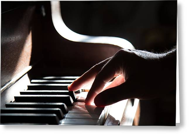Playing Musical Instruments Greeting Cards - Piano Man Greeting Card by Unsplash