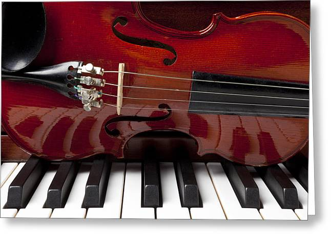 Violin Greeting Cards - Piano reflections Greeting Card by Garry Gay