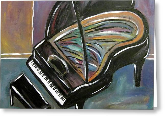 High Heeled Paintings Greeting Cards - Piano with High Heel Greeting Card by Anita Burgermeister