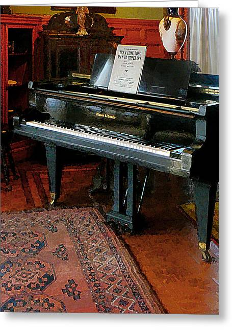 Piano With Sheet Music Greeting Card by Susan Savad