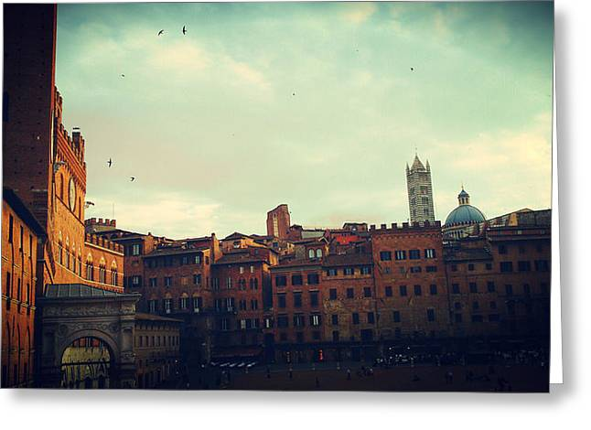 Sienna Italy Digital Art Greeting Cards - Piazza del Campo Greeting Card by Patrizia  Fazzari
