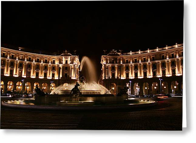 Classical Columns Greeting Cards - Piazza della Repubblica Greeting Card by Traveler Scout
