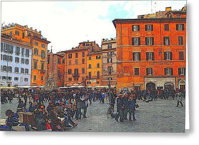 Scenes Of Italy Greeting Cards - Piazza della Rotunda in Rome 2 Greeting Card by Jen White