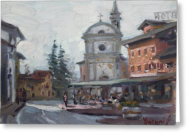 Piazza Di Limana Greeting Card by Ylli Haruni
