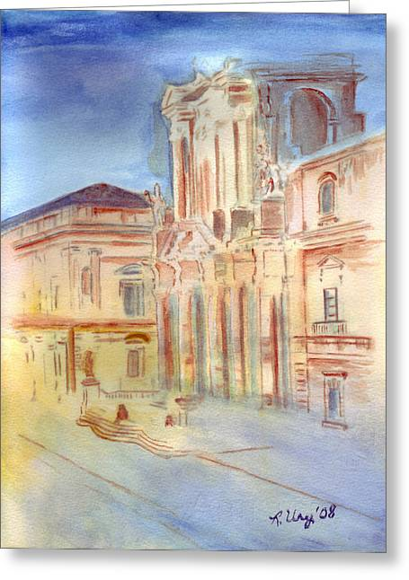 Medieval Temple Greeting Cards - Piazza Duomo Greeting Card by Rene Ury