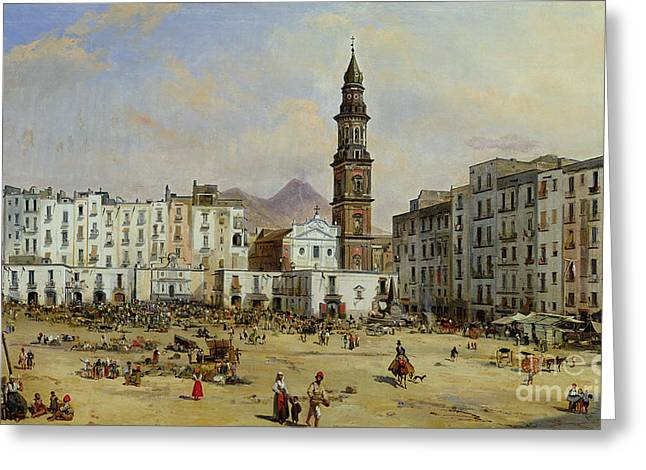 Bard Greeting Cards - Piazza Mazaniello in Naples Greeting Card by Jean Auguste Bard