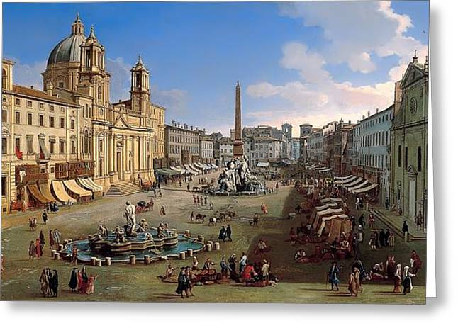 Piazza Novona - Rome Greeting Card by Mountain Dreams