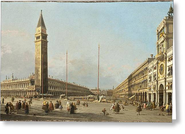 Antonio Canaletto Greeting Cards - Piazza San Marco Looking South and West Greeting Card by Canaletto