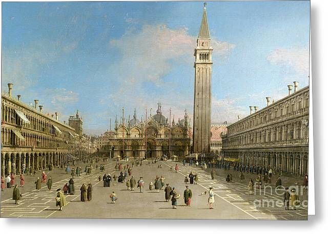 Piazza San Marco Looking Towards The Basilica Di San Marco  Greeting Card by Canaletto