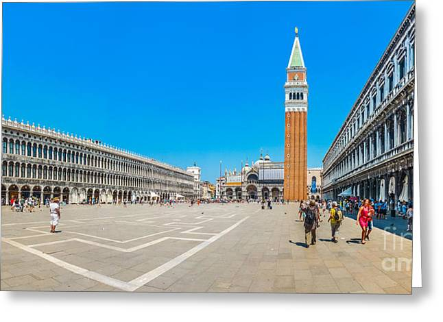 Campanile Di San Marco Greeting Cards - Piazzetta San Marco with Doges Palace and Campanile, Venice, It Greeting Card by JR Photography