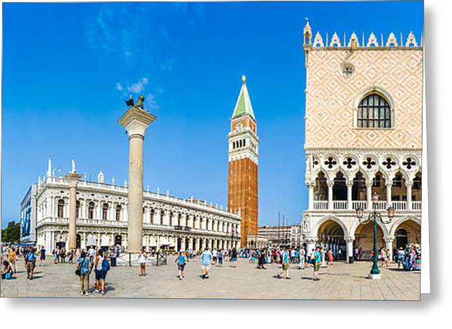 Campanile Di San Marco Greeting Cards - Piazzetta San Marco with Doges Palace and Campanile, Venice Greeting Card by JR Photography