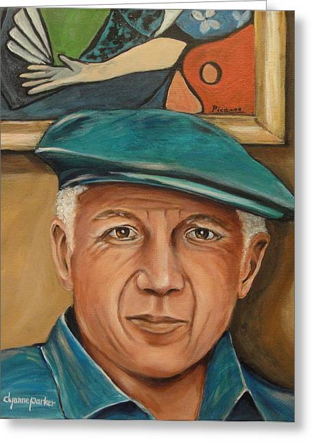 Pablo Picasso Greeting Cards - Picasso and His Masterpiece Greeting Card by Dyanne Parker