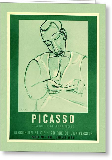 Picasso Exhibition Poster 5 Greeting Card by Andrew Fare