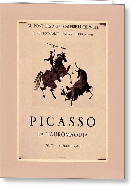 Picasso Exhibition Poster Greeting Card by Andrew Fare