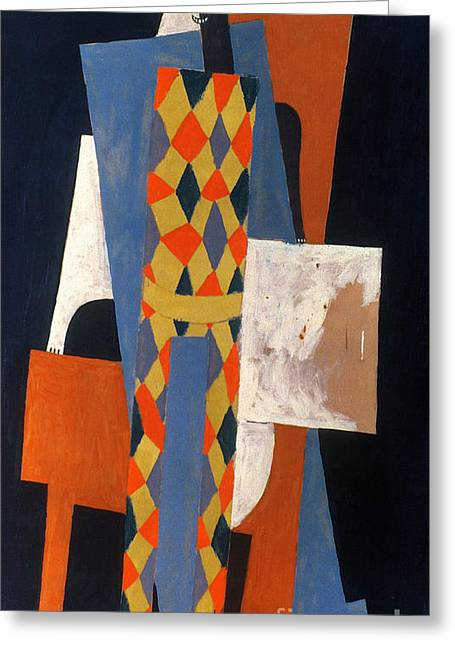 Pablo Greeting Cards - Picasso: Harlequin, 1915 Greeting Card by Granger