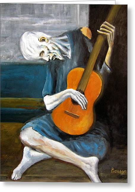 Leonardo Ruggieri Greeting Cards - Picassos Old Guitarist Greeting Card by Leonardo Ruggieri