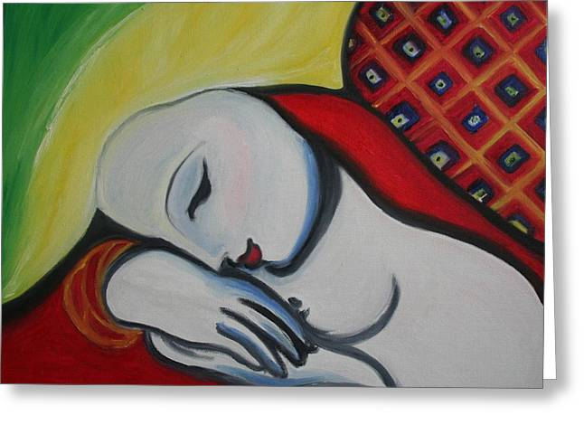 Picasso's Resting Angels Greeting Card by Alma Yamazaki