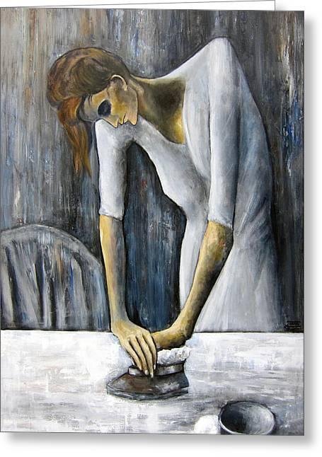 Leonardo Ruggieri Greeting Cards - Picassos Woman Ironing Greeting Card by Leonardo Ruggieri