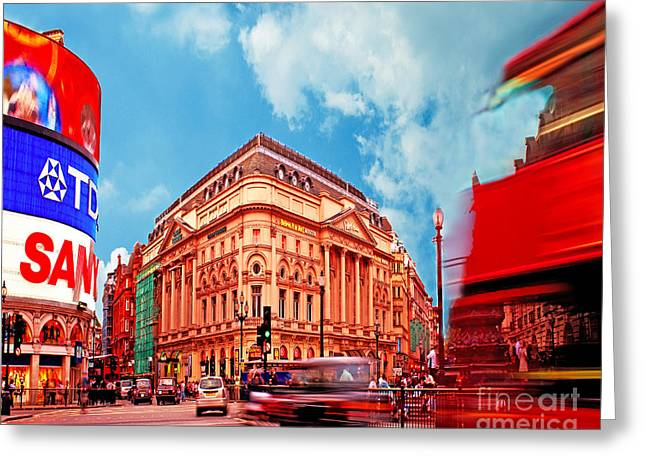 Fast Taxi Greeting Cards - Piccadilly Circus London Greeting Card by Chris Smith