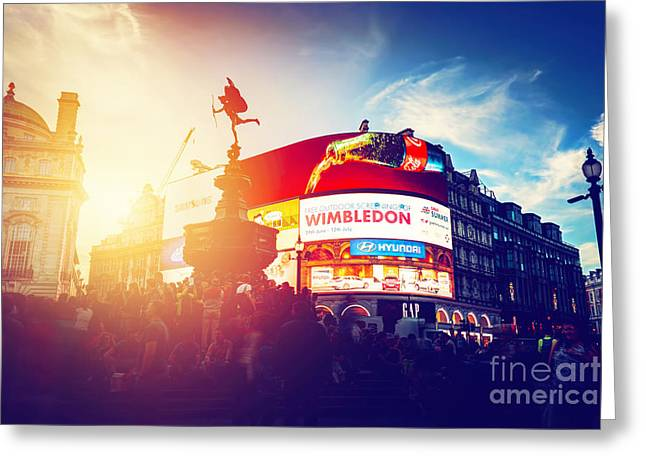 Piccadilly Circus Neon Ads Glow At Sunset, Young Night. London, Uk Greeting Card by Michal Bednarek