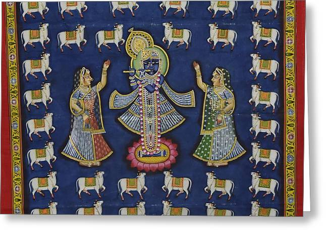 Gopala Greeting Cards - Pichwai 5 Greeting Card by Unknown