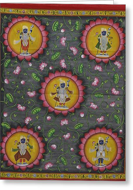 Gopala Greeting Cards - Pichwai 6 Greeting Card by Unknown