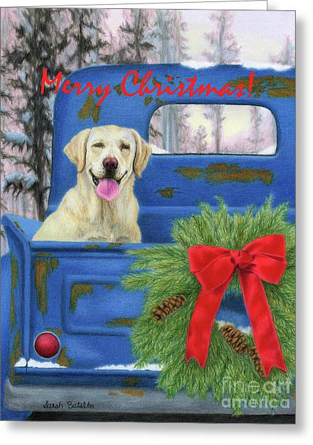 Pick-en Up The Christmas Tree- Merry Christmas Card Greeting Card by Sarah Batalka