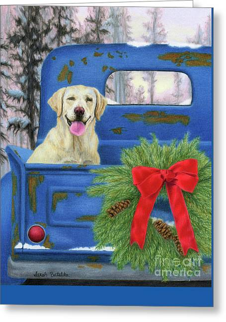 Yellow Lab Greeting Cards - Pick-En Up The Christmas Tree Greeting Card by Sarah Batalka