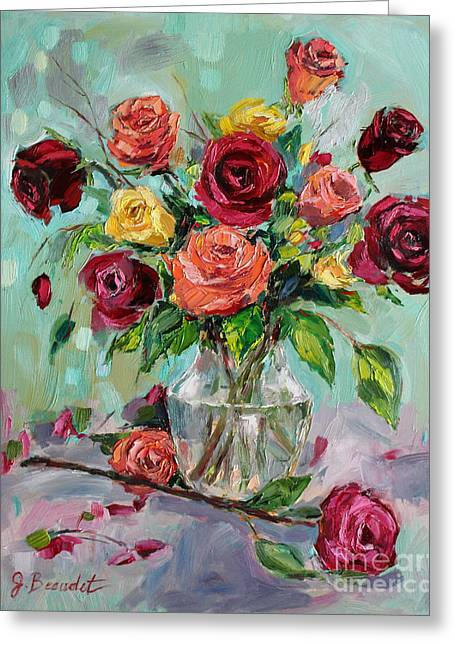 Multicolored Roses Greeting Cards - Picked For You Greeting Card by Jennifer Beaudet