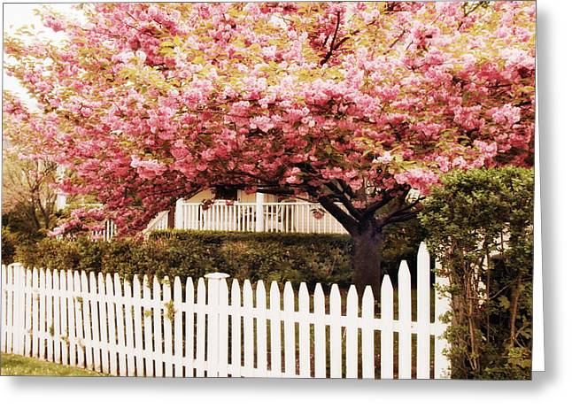 White Picket Fence Greeting Cards - Picket Fence Charm Greeting Card by Jessica Jenney