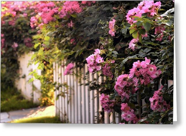 Picket Fence Floral Greeting Card by Jessica Jenney