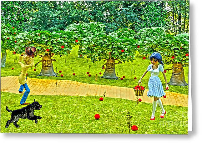 Dogs Digital Greeting Cards - Picking Apples On The Road To Oz  Greeting Card by Methune Hively