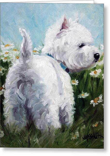 Westie Art Greeting Cards - Picking Daisies Greeting Card by Mary Sparrow