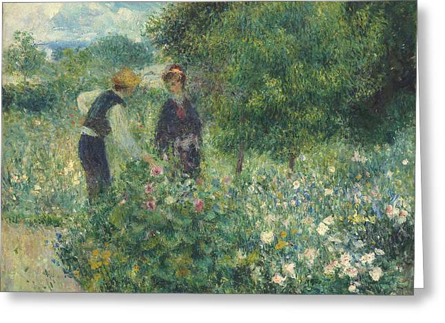 Famous Artist Greeting Cards - Picking Flowers Greeting Card by Auguste Renoir