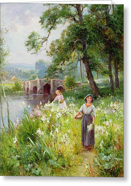 River View Greeting Cards - Picking Flowers by the River Greeting Card by Ernest Walbourn