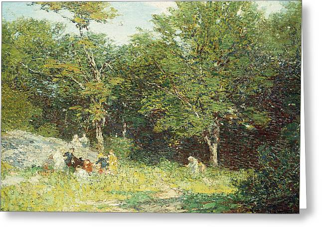 Woodland Scenes Greeting Cards - Picking Flowers Greeting Card by Edward Henry Potthast