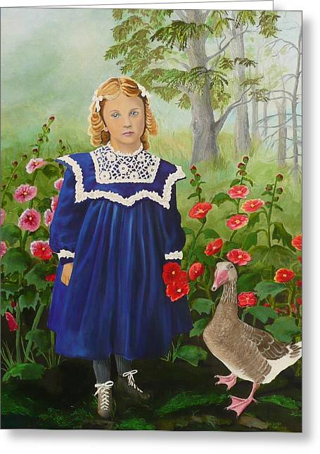 Mother Goose Paintings Greeting Cards - Picking Flowers Greeting Card by Virginia Sincler